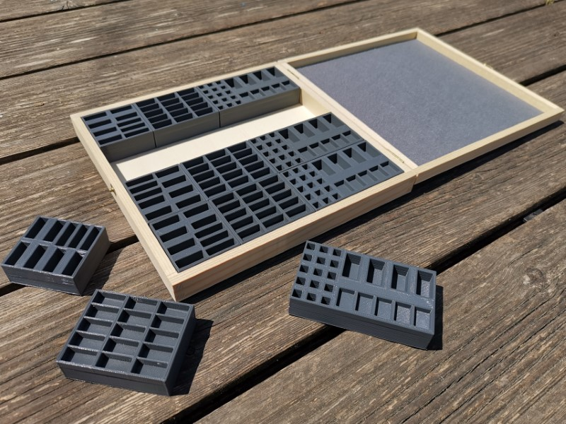 Holzkiste passend für 4x Basisspiel, Seefahrer, Städte u. Ritter